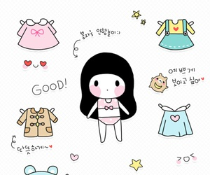 cute baby, illustration girl, and kawaii image