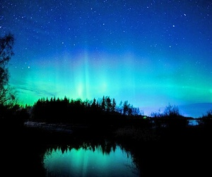 stars, blue, and northern lights image