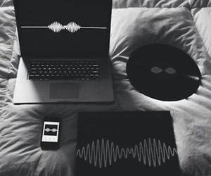 bed, computer, and music image