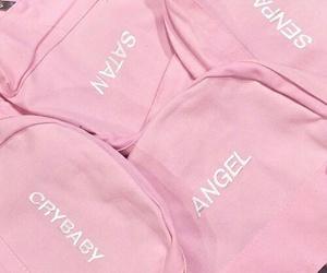 pink, angel, and satan image