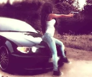 girl, car, and gun image