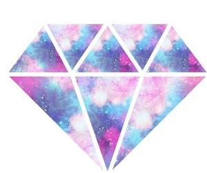 diamond, galaxy, and overlay image