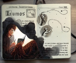 harry potter, lumos, and art image