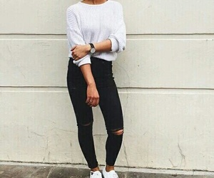 black and white, jeans, and t shirt image