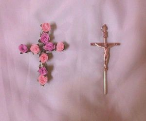 pink, flowers, and cross image