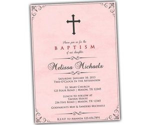 baby girl, baby pink, and baptism invitations image