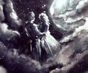 art, couple, and moonlight image