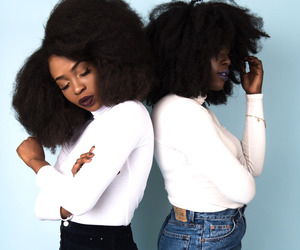 Afro, black woman, and jeans image