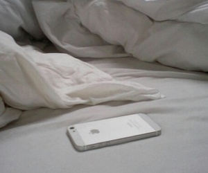 iphone, bed, and white image