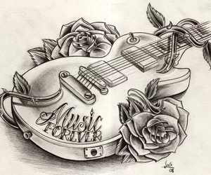 guitar, music, and drawing image