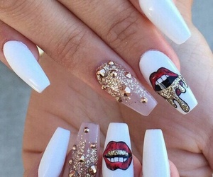 nails, white, and lips image