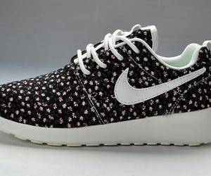 flowers, nike, and black image