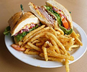 fries, food, and sandwich image