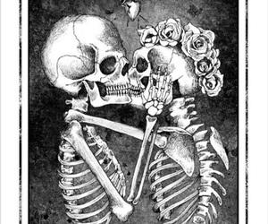 love, skull, and kiss image