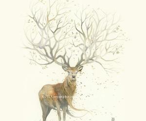 art, deer, and fall image