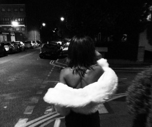 girl, night, and black and white image