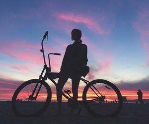 girl, beautiful, and bike image