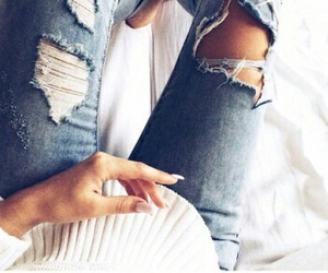 jeans, girl, and nails image