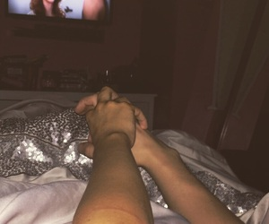 bed, cuddles, and Relationship image