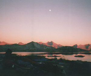 landscape, nature, and moon image