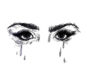 eyes, cry, and outline image