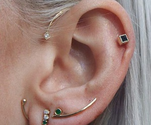 girl, piercing, and earrings image