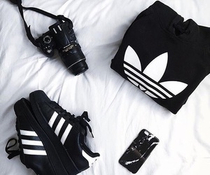 adidas, black, and superstar image