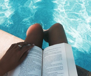 pool, reading, and summer image