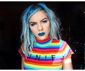 blue hair, dyed hair, and aesthetic image
