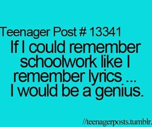 Lyrics, teenager post, and school image