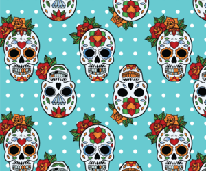 mexican, pattern, and skull image
