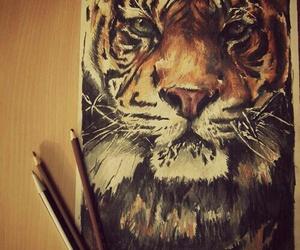 tiger, art, and animal image