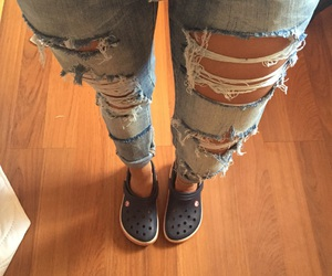 blue, jeans, and crocs image