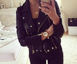 black, gold, and style image