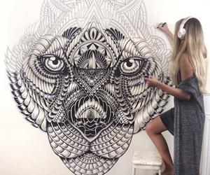 art, drawing, and tiger image