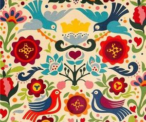 birds, colourful, and flowers image