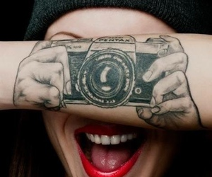 tattoo, camera, and smile image