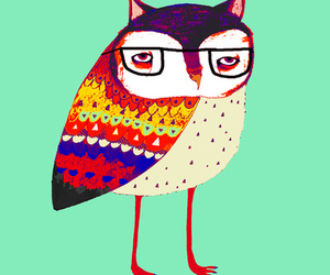 owl, art, and glasses image