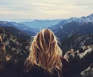 girl, mountains, and hair image
