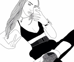 girl, draw, and outline image