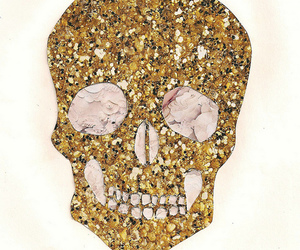 skull, gold, and cool image