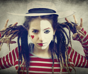 clown, dreadlocks, and red image