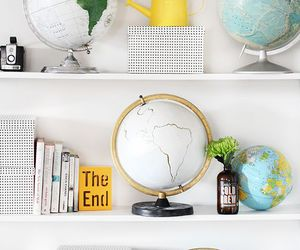 decoration, books, and globe image