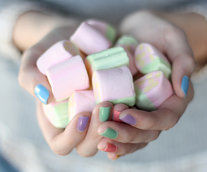 marshmallow, nails, and candy image
