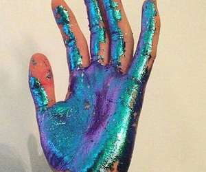 hand, blue, and glitter image