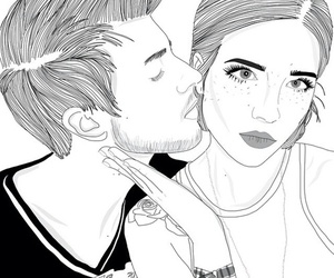 outline, couple, and art image
