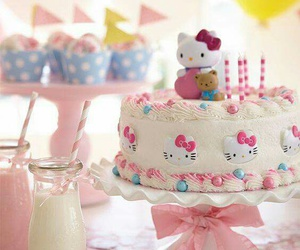 hello kitty, cake, and birthday image