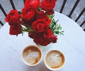 coffee, morning, and roses image