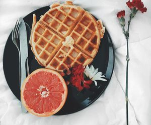 breakfast, flowers, and waffles image