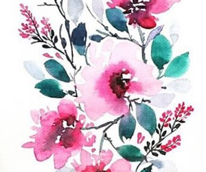 art, pink, and pretty flowers image